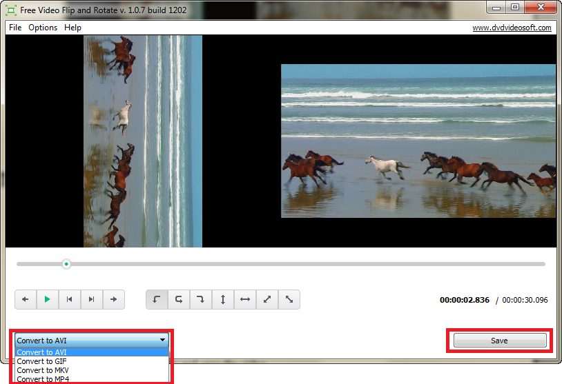 Free Video Flip and Rotate: choose output format and save the video